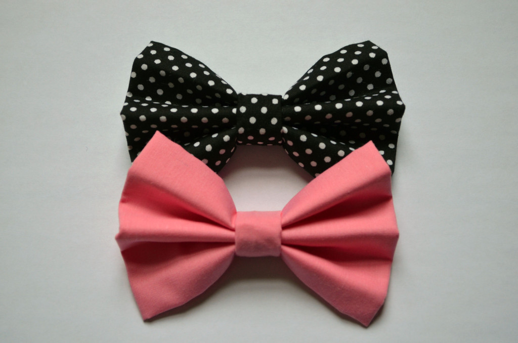 Pink and Black Polka Dot Hair Bows