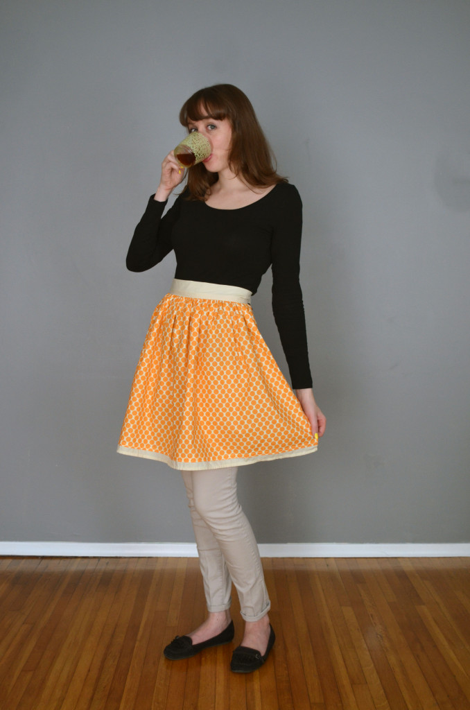 Creamsicle Polka Dot Half Apron